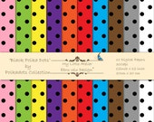 Black Polka Dots - 10 Printable Digital Papers - 12x12inch - 300 dpi