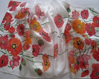 Hand Painted Silk Scarf Poppies