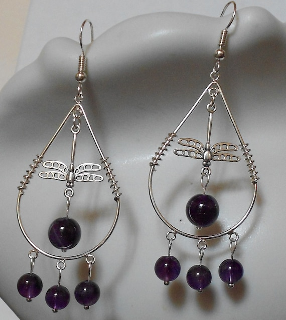 Reserved for buyer Dragonfly Amethyst Tear Drop Sterling Silver Earrings