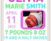 Newborn birth announcement. Personalized baby stat print. Baby girl nursery.