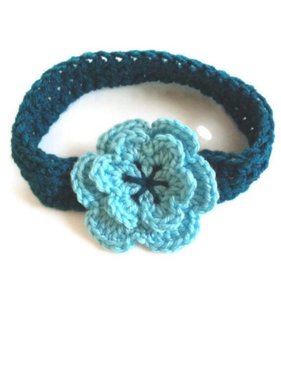 Crochet Baby Headband, Teal Flower Headband, Ready to ship