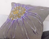 Natural Linen cushion with hand painted purple daisy