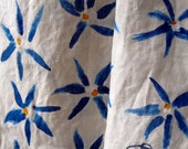 Natural Linen Scarf with hand-painted blue flowers
