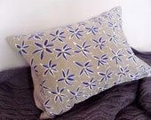 Organic Natural Linen cushion with hand painted blue flowers