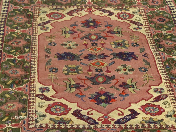 Fantastic BIG 7x 10 Ft Oriental Style Hand Hooked Rug made in Maryland in 50s