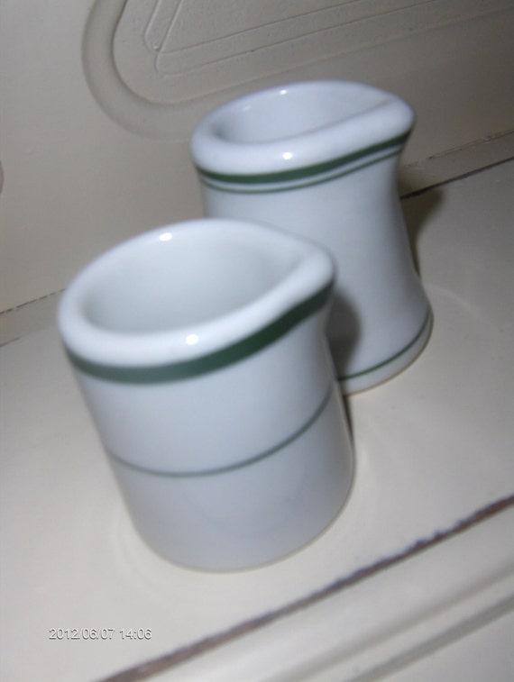 Pair Restaurant China Green Stripe Individual Creamers