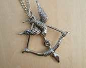 Hunger Games silver Mockingjay and Bow and Arrow charm necklace Katniss