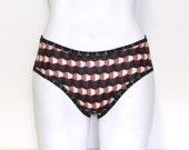 Cotton jersey bikini panties - black, pink and burgundy mod geometric print