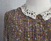 Vintage dress / Floral print dress / Medium