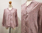 Floral Vintage Blouse / Light Pink / Flower / Small - Medium