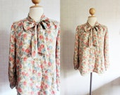 Floral Vintage Blouse / Green / Old Rose / Light Yellow / Small - Medium