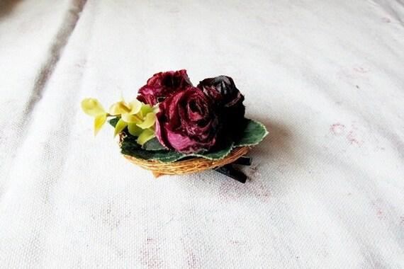 Dark Purple Floral Hair Clip / Bird Nest / Brown Lavender