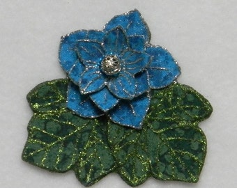 Turquoise Blue and Green Flower Magnetic Brooch