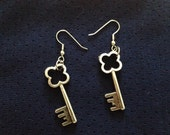 Silver Four-Leaf Clover Key Earrings