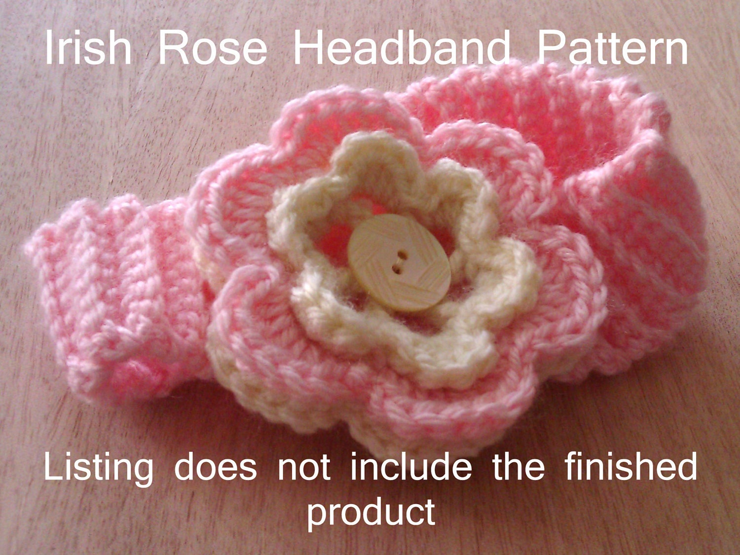 Crochet Headband Pattern Newborn : Baby Girl Irish Rose Headband Crochet Pattern by CNCole87 ...