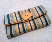 Handmade Fabric Wallet/Purse in Yellow and Blue with zip pocket.
