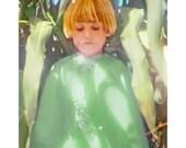 Fairy Portrait, Garden Deva, Boy, Sweet, Greens, Fairy Tale Art, 8x10