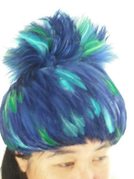 Vintage Ladies Feather Hat -  Exotic Feathers