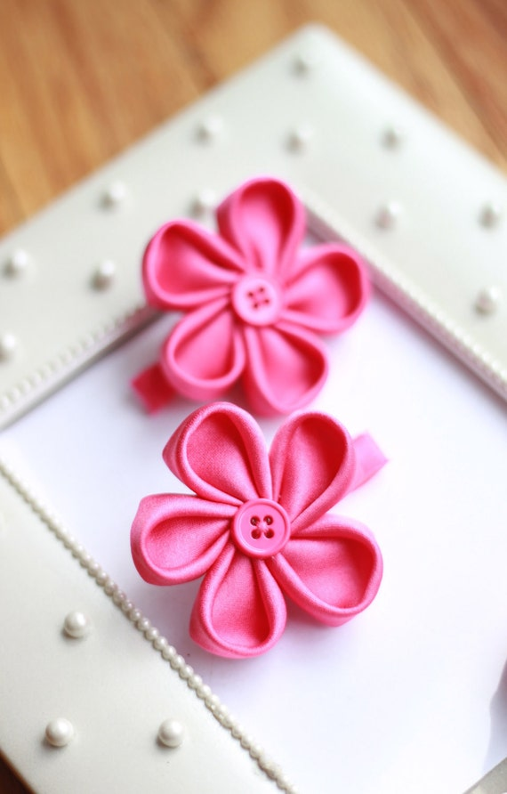 Girl Hair Clips - Satin Kanzachi Flowers- Hot Pink Color-Set of 2-Baby/Toddler/Teen-Easter/Spring/Summer