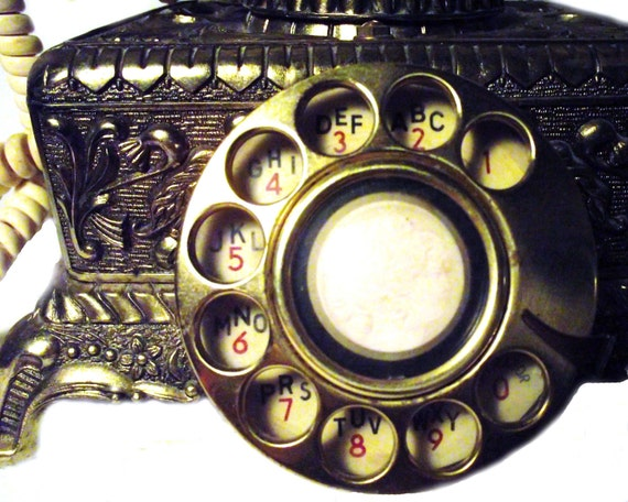 60's Brass Telephone w. Rotary Dial
