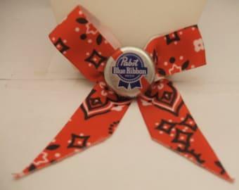 Pabst Blue Ribbon Hair Bow Clip