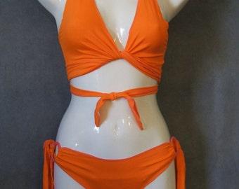 Strippers  Neon Orange  Long Ties 3 Piece Set Ladies sz M/L