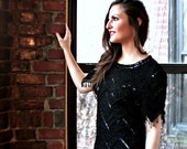 Vintage Black Beaded Cocktail Dress with Amazing Detail
