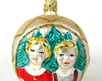 Heidi and Peter Blown Glass Christmas Ornament Gold Star on Back Made in Germany