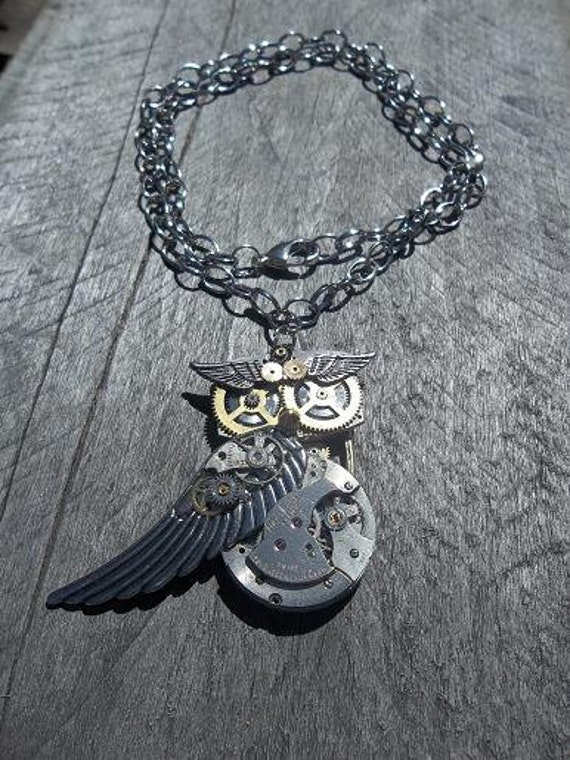 "Reserved for JenR:""Steampunkus Barbarus"", Owl Pendant Necklace, Silver Watch Movement & Wings w/Brass and Silver Parts on Belcher Chain"