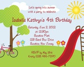 Summer Playground Invitation - Personalized Custom Park Slide Bicycle Birthday Invitation Print Your Own