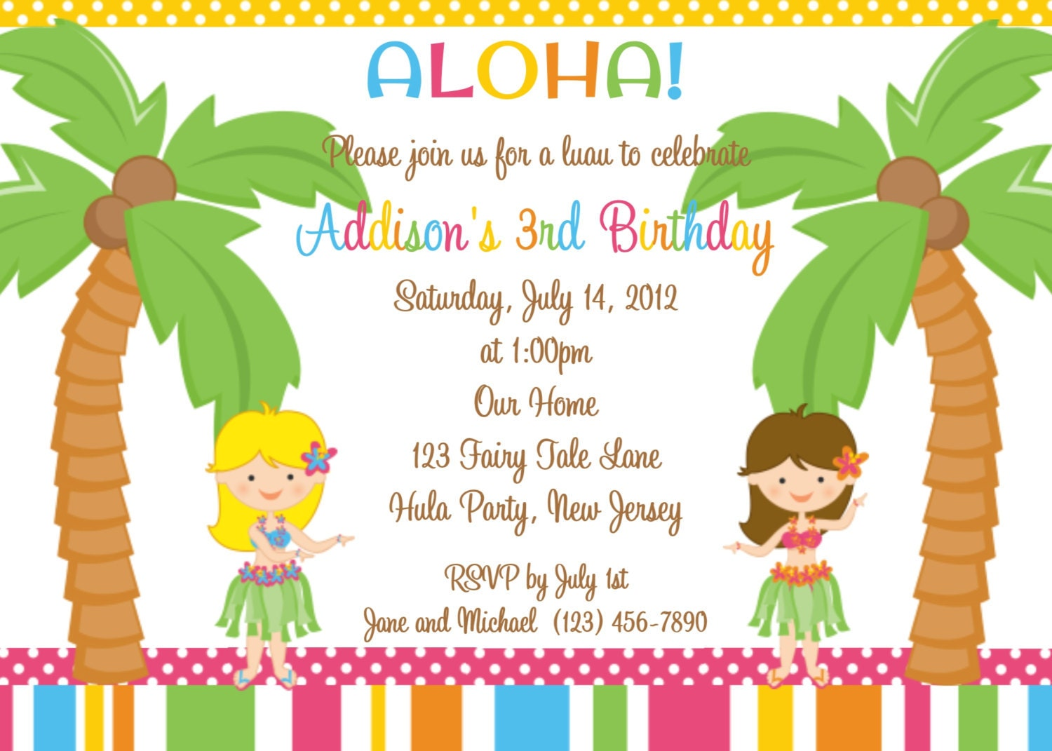 Tropical Themed Party Ideas Free Printables: Hula Party Invitation Personalized Custom Birthday Luau