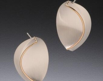 Scored Leaf Earrings