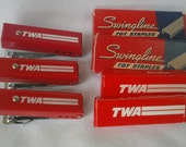 3 Vintage 70s TWA Airlines Mini Staplers and Extra Staples