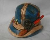 Vintage 70s Fisherman Hat Ceramic Bank Japan Rod and Reel