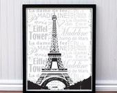 Paris Print - Personalized Eiffel Tower, Paris France Print, Parisian Poster  - 16 x 20