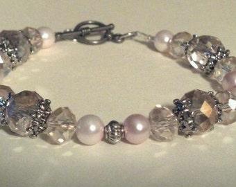 Sweet Dreams Bracelet, Wedding Bracelet, Pink Pearl Bracelet, Glass crystal Bracelet, AntiqueLooking Bracelet, Old Fashioned Bracelet