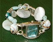 Chunky Beaded Mint Green and Tourquoise Bracelet Watch Sz6  077-6