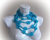 Cyan Flower Hand Crochet Lariat Scarf-Crochet Floral Lariat neck accessories-Spring Scarf - Spring Fashion