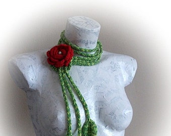 Rose Scarf- crocheted branches-Mother's Day Gift - Easter Gift-Spring Scarf -Spring Fashion - Crochet Scarf