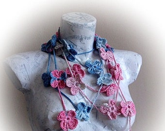 Bamboo Crochet lariat flower scarf,Hand crochet Lariat Scarf,Scarflette,Spring Fashion ,Crochet Scarf ,Pink and blue Crochet Scarf