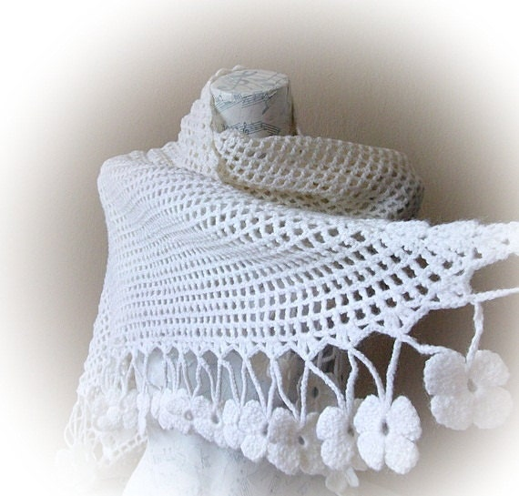 Crocheted Off White  Lacy Shawl
