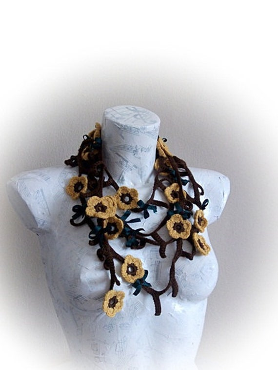 Mustard yellow and brown Sunflower Scarf- crocheted branches-Mother's Day Gift - Easter Gift-Spring Scarf -Spring Fashion - Crochet