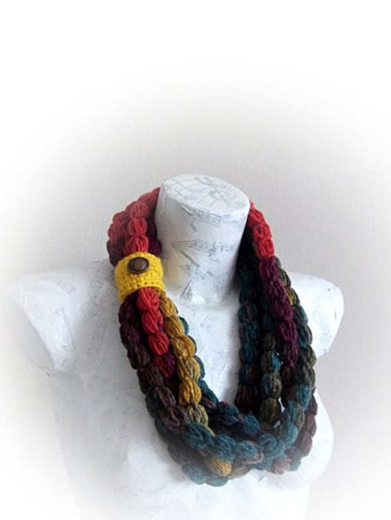 Lariat Scarf-Handmade Crochet Scarf - Colorful Crochet Scarf