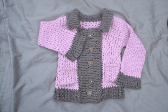 Blossom Pink and Taupe Sweater with pockets 3T