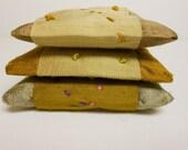 Metallic golds hand embroidered Dupioni silk lavender sachets