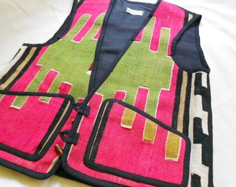 Vintage tribal Turkish handwoven kilim vest in watermelon and lime boho vest tribal clothing