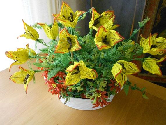 Vintage french beaded flower bouquet limoges basket