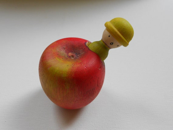 Wooden apple and worm man toy