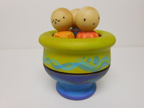 Nursery rhyme Rub A Dub Dub 3 Men in a Tub wooden learning toy hand painted vintage