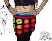 RainboW FloWer PoWer Crochet Skirt  XS-M